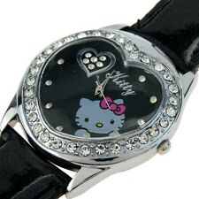 Reloj Hello Kitty watch  Corazón negro con brillantes Precioso A1063