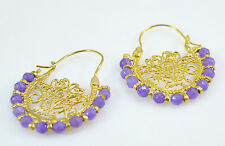 OttomanGems semi precious gemstone earrings gold hoop Jade Filigree handmade