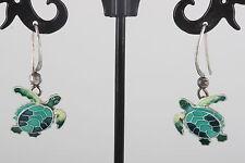 STERLING SILVER GREEN ENAMEL SEA TURTLE EARRINGS 925 FINE 9734