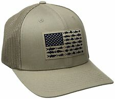 NEW COLUMBIA PFG MESH HAT CAP - FLEX-FIT - TUSH TAN - FISH FLAG - L/XL