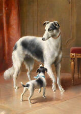 Hand painted huge work oil painting two dogs mother with puppy in sitting room