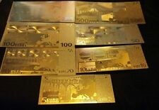 HUGE 20Pc.LOT-.999 GOLD BANKNOTES 7-U.S7-EURO/ &3 SILVER/2COINS+CHARM FREE SHIP