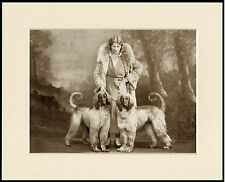 AFGHAN HOUND LADY AND HER TWO DOGS OLD PHOTO IMAGE ON DOG PRINT READY TO FRAME