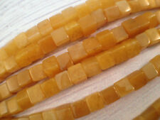 4X4MM Cube square smooth natural Yellow Jade beads big hole 1 strand 16 inch