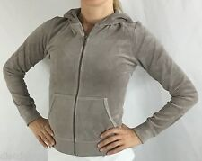 Juicy Couture Hoodie Jacket Velour Long Sleeve Zip Up O'Groats Taupe Size XS P