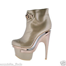 New VERSACE TRIPLE PLATFORM ROSE GOLD LEATHER BOOTIE BOOTS 39.5 - 9.5