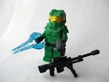 Lego Custom HALO MASTER CHIEF Spartan Minifigure -GREEN- Sniper, Sword, Pistol