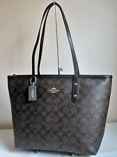 COACH  Brown/ Black SIGNATURE CITY ZIP Tote Bag Handbag Purse F36876