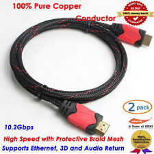 2-Pack 6FT Ultra Premium HDMI v1.4 Cable High Speed 3D LCD HDTV Nylon Braided