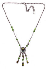 DYANA LINK CHAIN NECKLACE W GREEN DIAMANTÉ FLORAL PENDANT & TASSELS (ZX54)