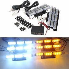 12V LED 6 Bars White Amber Car Flashing Emergency Grille Recovery Strobe Light U