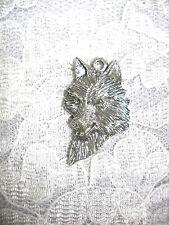 NEW WILD SPIRIT WOLF HEAD BUST PROFILE USA CAST PEWTER PENDANT ADJ CORD NECKLACE