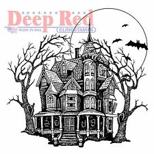 Halloween Haunted Mansion, Cling Unmounted Rubber Stamp DEEP RED - New, 4X505563