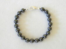 Natural Hematite Men's Bracelet 6mm Beads Hand Knotted