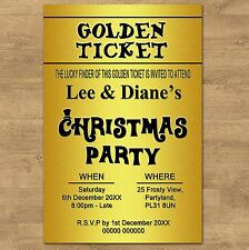 10 Personalised Golden Ticket Christmas Party Or Dinner Invitations + Envelopes