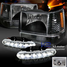 Black 93-96 Jeep Grand Cherokee Headlights+Corner+Bumper Light+LED Fog Lamps