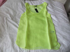 JOSEPH DEBBIE NEON VOILE SILK TOP SHEER  YELLOW  BEACH/SWIM/BIKINI SIZE EU 36