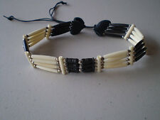 BLACK & WHITE THIN  CHOKER BUFFALO BONE JEWELRY NECKLACE  REGALIA POW WOW TRIBAL