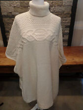 Ralph Lauren Poncho Sweater Wool/Alpaca Ivory Turtleneck Cable Knit One Size