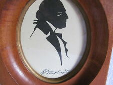 Antique George Washington Paper Cut Silhouette, Curly Maple Frame with Gilt