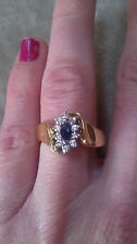 14K FINE YELLOW GOLD SAPPHIRE & DIAMOND  RING  WOW THIS RING IS STUNNING!