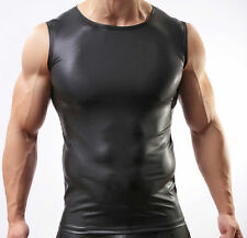 Men Leather Like Tank Top Vest Gay Underwear Sleeveless T-shirt Muscle Shirt S