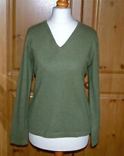 Pure collection 100% cachemire col v sweater heather vert taille uk 12