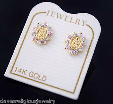 Pink Our Lady Guadalupe Earrings 14k Gold Virgin Mary Aretes Vigen Oro
