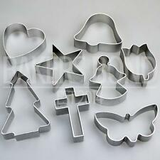 Religious Shapes Set of 8 Metal Cookie Cutters Cross Angel Star Bell Biscuit