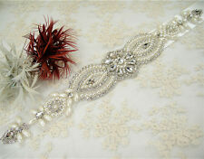 Pearl Rhinestone Bridal Dress Belt Ivory Crystal Wedding Sash Any Colour Ribbon