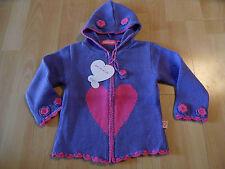 MIM-PI schöne Kapuzenstrickjacke lila m. pinkem Herz Gr. 98 NEU ST116