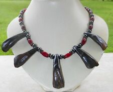 Native American Buffalo Tooth Bone Necklace Hematite Beads Cherokee Regalia