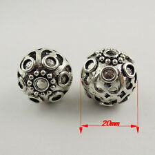30632 Antique Silver Tone Alloy Hollow Lace Spacer Beads Ball DIY Jewelry 8 pcs