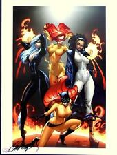 J SCOTT CAMPBELL MARVEL DIVAS SIGNED ART PRINT / BLACK CAT, FIRESTAR, & HELLCAT