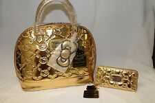 Hello Kitty Con 2014 Exclusive LOUNGEFLY GOLD BAG / PURSE & WALLET   new HK