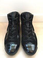 Tods Gamuza Cuero Negro Y Patente Zapatillas Zapatos Talla 39, 6/7