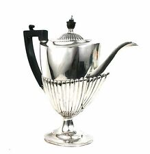 Antique Silver Plated Pedestal Teapot Queen Anne Style Ebony Handle c.1900