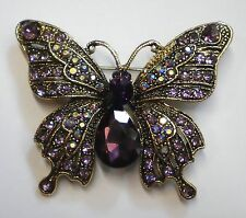 GORGEOUS VINTAGE INSPIRED ANTIQUE GOLD STATEMENT PURPLE  BUTTERFLY BROOCH