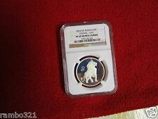 2002 NGC PF69 RUSSIA SILVER COIN 2 ROUBLES ZODIAC LEO LION PROOF RUSSIAN PCGS
