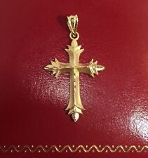 MA Vintage 14k Yellow Gold Diamond Cut CROSS Religious Pendant 585 Charm 1.25""