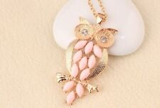 GirlZ! Cute Pink Crystals Owl Pendant With Chain