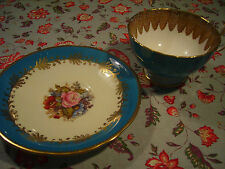 Aynsley Bone China Tea Cup & Saucer Handpainted Rose Floral JA Bailey Turquoise