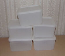 5 Vtg Lily or Tupperware Frozen Food Freezer Containers Clear Square-Round Lids