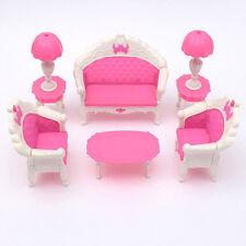 6pcs Jolie Dollhouse Meuble Salon Sofa Bavarder pour Poupée Barbie Accessoires