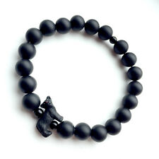 Black Cat Bracelet by Spirit Connexions with Matte Black Onyx Gemstone Beads