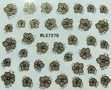 Nail Art 3D Glitter Decal Stickers Gold Glitter Flower BLE727D