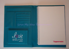 Tupperware Padfolio Teal Blue w /Spiral Notebook Rare Consultant Award New
