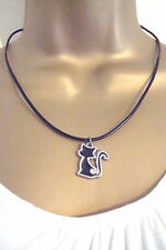 BNWOT Silver Alloy Enamel and Diamante Black Cat  on Leather Cord Necklace