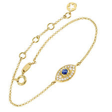 Women's 18K Yellow Gold Diamond Pave Sapphire Evil Eye Bracelet LBB