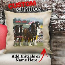 Personalised Shire Horse Carriage Vintage Cushion Custom Canvas Cover Gift NC104
